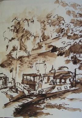 Péniches, quai malaquais, 1984-85