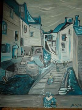 """Peinture rue des quenelles """" bleues"""" huile"""