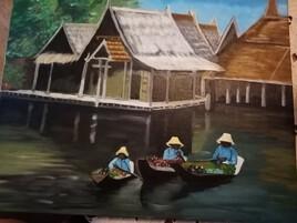 Barques des chaumières Tailandaises