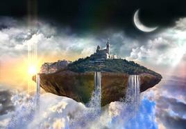 île flottante dans le ciel