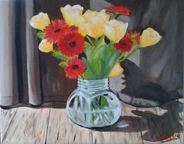 Bouquet  de tulipes jaunes et de gaillardes rouges (détails)- 50 cm x 40 cm