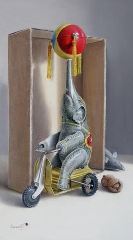 L'éléphant sur un tricycle ! (33 x 19 cm) 4M