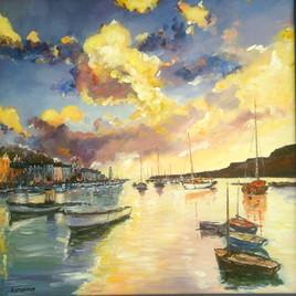 Port breton ,soleil couchant