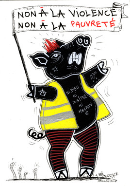 Cochon noir Gilet jaune