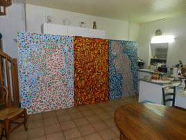 triptyque de 3 toiles de 150