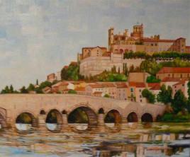 La Citadel de Beziers oil by claude Dubois