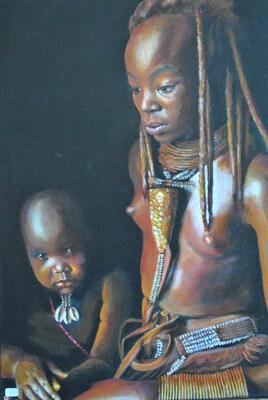 Jeune himba et son bébé