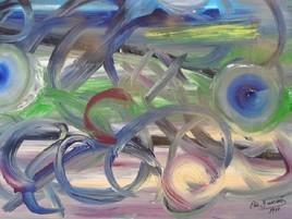 ELIE BERNARD ACRYLIQUE ORIGINALE ART ABSTRAIT SUR TOILE 44X65 70X88