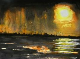 Coucher de soleil derrière l'orage sur le port de Dunkerque