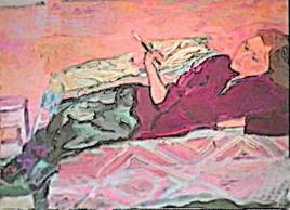 Claudine sur le canapé fumant une cigarette