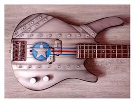 guitare basse airbrush métal éffets