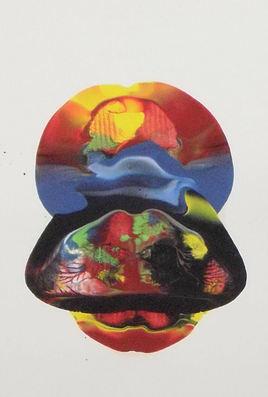 LangdonArt LuneJaune peinture acrylique sur papier vue C sur 4 vues