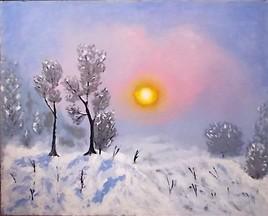 Lever de soleil sur la lande enneigée