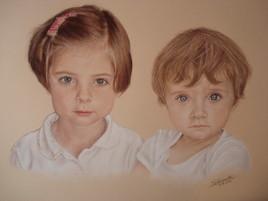 Portrait double au pastel