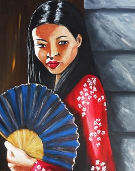 Peinture La fille à l'éventail