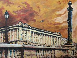 Acrylique sur toile : Place de la Concorde, ciel d'orage