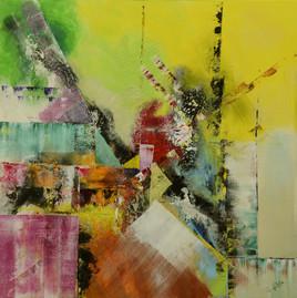 Tableau abstrait à la peinture acrylique style art déco : Behindy