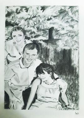 Famille, dessin pour une commande