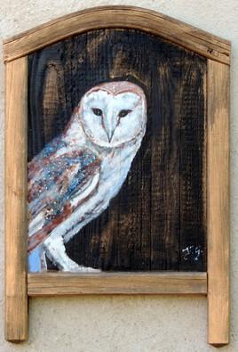 """""""Effraie"""" peinture sur bois"""