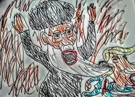 Khamenei étranglant Donald Trump