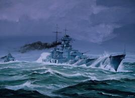 Le croiseur allemand Prinz Eugen dans la nuit.