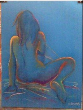 nue en fond bleu