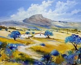Cabanes et oliviers - ©Bruni Eric. Tous droits réservés - Tableau peinture, paysage de Provence.
