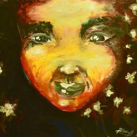 """PORTRAIT """"Mon Enfant"""" peint aux doigts sans peinceaux"""