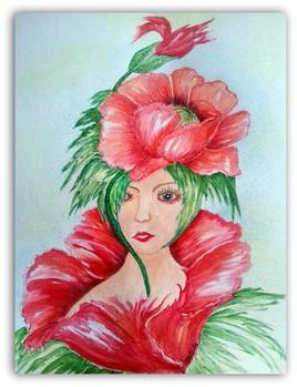 Mademoiselle coquelicot (aquarelle 53)
