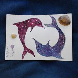 Peinture aquarelle '' Les dauphins ''