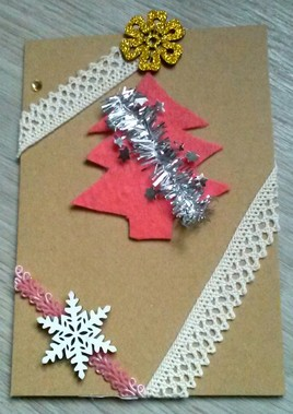 carte de Noël/tissus recyclés