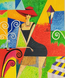 Demoiselle à la robe noire et au chapeau rouge