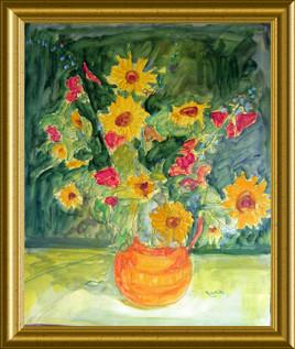 Soileils et roses trémières - 81X65