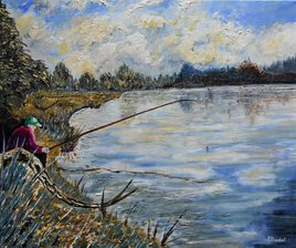 Pêcheur en bord d'étang