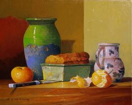 Cake, mandarines, vase, pichet