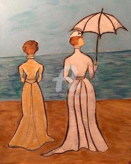Victorians ladies on the beach