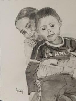 Portrait, sœur et frère