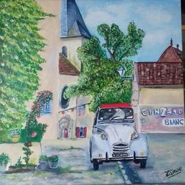 Peinture. Un jour en France. 50cm x 50 cm