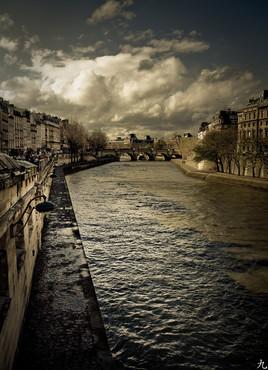 Dark winter docks in Paris