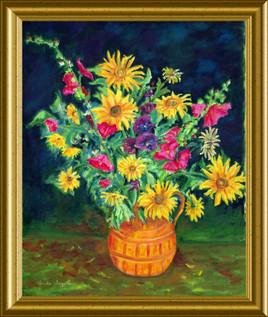 Solells et roses trémières-81x65