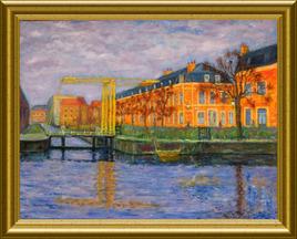 Peinture L'ancien pont levis Augustin à Douai -50X65 - Huile sur toile