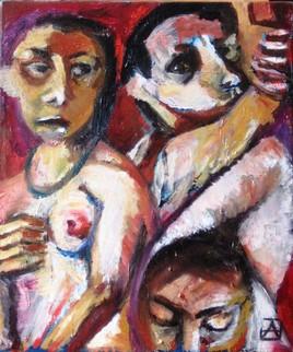 Trois visages et un sein nu