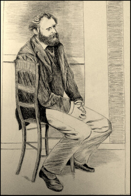 """""""Manet assis, tourné vers la droite"""" (E. Degas)"""