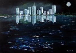 Nuit et mer sur la ville