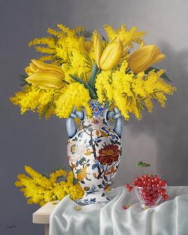 Bouquet de mimosas et tulipes (81cm x 65cm) 25F