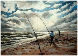 La pêche en surf-casting (pêche en bord de mer le soir)  petites retouches