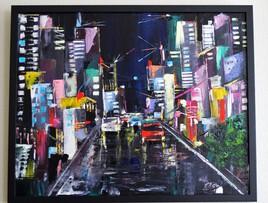 Ville de nuit, après la pluie