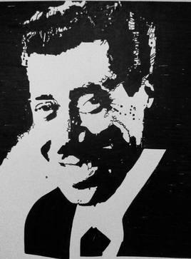 Portrait comique célèbre en noir et blanc