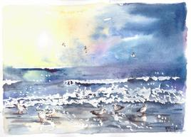 Couchée de soleil à la mer