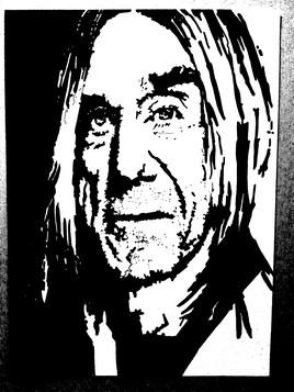 Portrait de Iggy Pop en noir et blanc